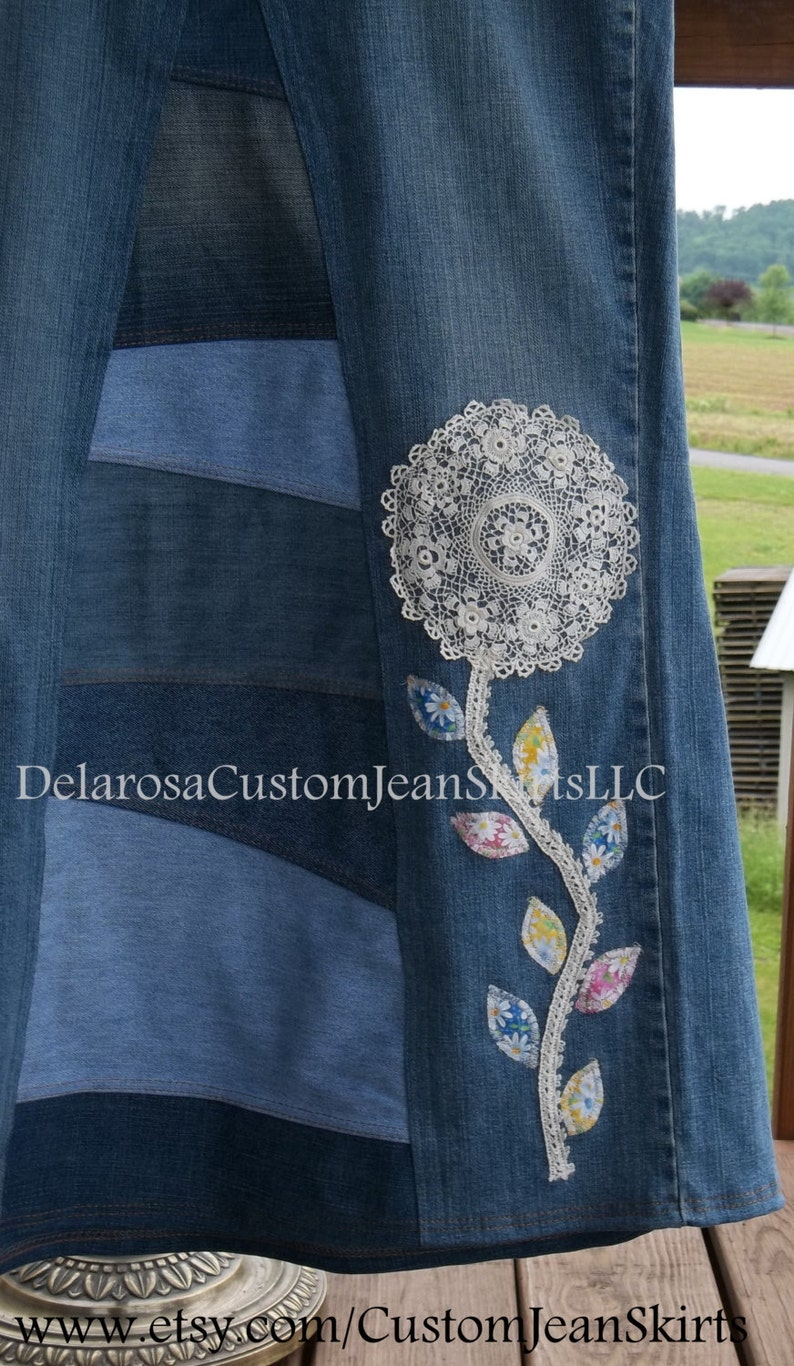 add in item only DELAROSA Custom Doily flower lace stem and fabric leaves Appliqu\u00e9/'s for your jean skirt