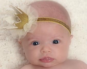 Newborn Crown,1st Birthday Crown, Baby headbands,  Newborn Baby Crown, Baby crown headband,Princess Crown Headbnad, Glitter Crown Headband.