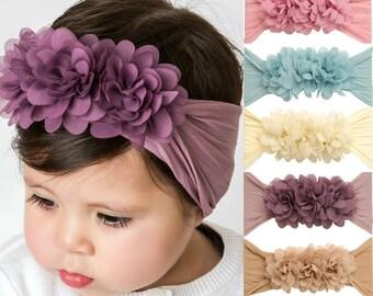 Pick Color Nylon Baby headband, Nylon baby headbands, FLOWER TRIO Headband, Baby Hair bows, Newborn Headbands, Baby Girl Headbands Hair Bows