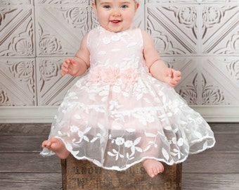 Flower Dress Lace Girl Girls Pink Rustic Birthday DressEaster Baby