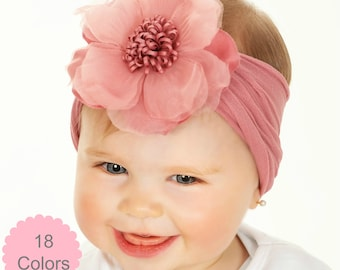 3a3c44f3e08cd Baby headband,Floral nylon headbands, baby girl headbands, Big Flower  headband, head wraps baby toddler girls, Newborn headbands, Hair Bows
