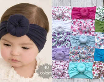 FLAMINGO Top Knot Headband Infant Knotted Headband Toddler Headband Baby Jersey Headband Jersey Headband Knotted Headband