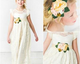 flower girl dress, lace flower girl dresses, ivory flower girl dress, rustic flower girl, country flower girl, Ivory flower girl, baby dress