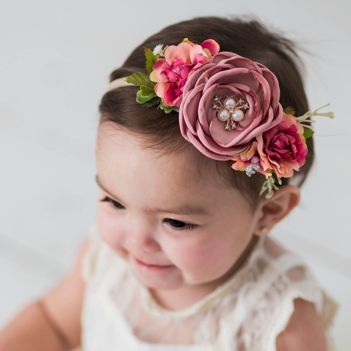Baby headbands baby girl headbandfloral nylon headband etsy zoom izmirmasajfo