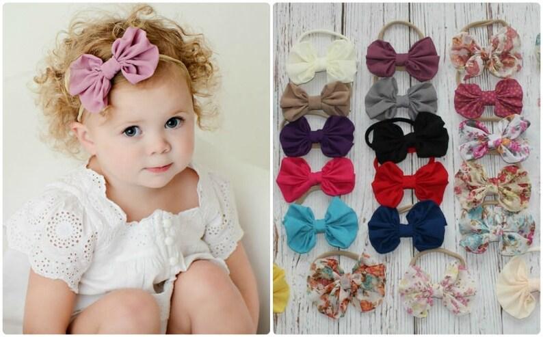 Chiffon Bow headband Nylon Headbands Baby Girl Headbands  443435dae0a