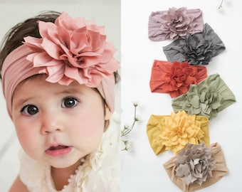 Baby Headband, Nylon Baby headbands, Baby Girl Headbands, Baby Hair Bows, DHALIA Big Flower Headband, Newborn Headbands, Baby Head wraps