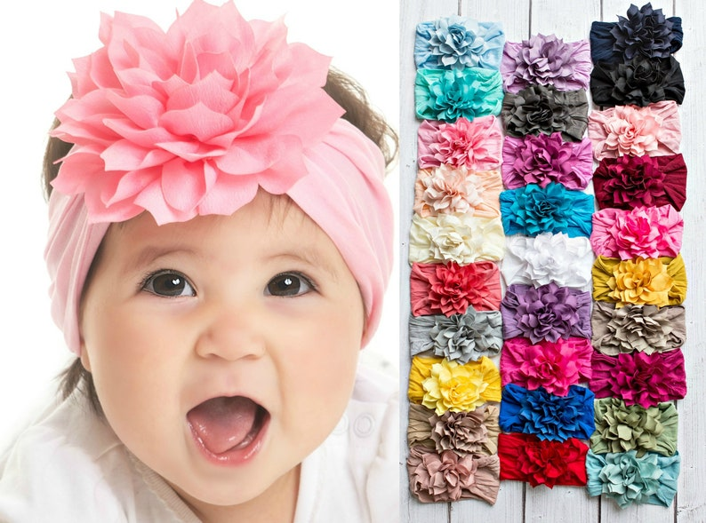 Newborn Baby Headbands Flower Nylon Headband DAHLIA Pink Flower Headband Bow Headband Flower Baby Head Wrap Stretchy Baby Girl Headband