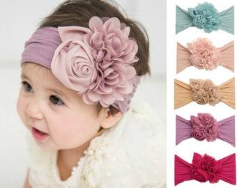 Baby headband, Floral nylon headbands, baby girl headbands, COUTURE NYLON Flower headband, head wraps baby toddler girls, baby headwraps