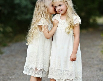 Lace flower girl dress, Flower girl dresses, Country rustic lace flower girl dress, Ivory Lace dress, Toddler baby lace dress, girls dresses