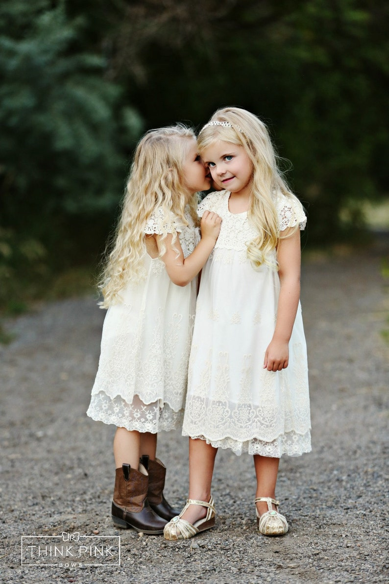 Lace flower girl dress Flower girl dresses Country rustic image 0