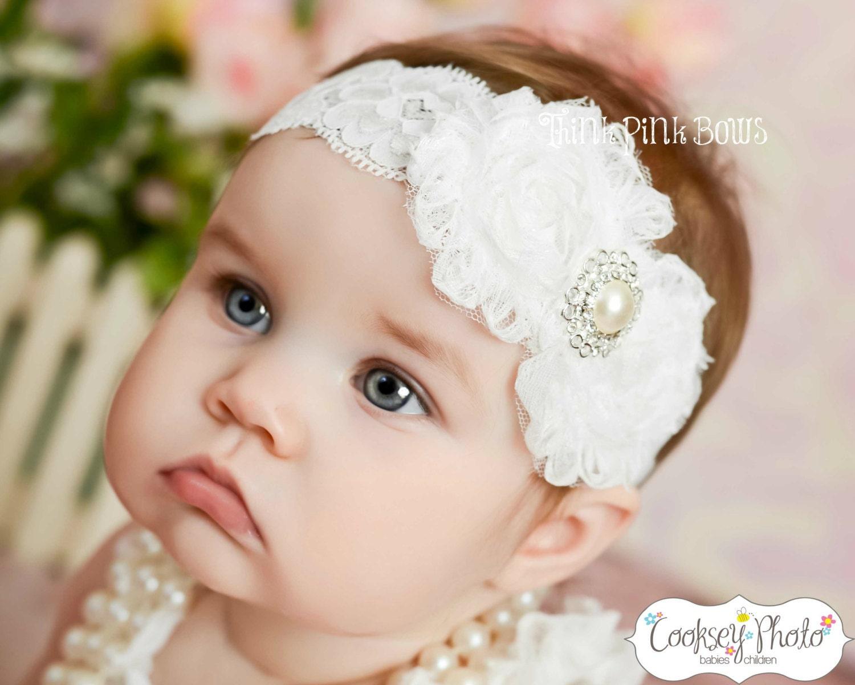 White baby Headband shabby chic headband christening  8d14cd74168