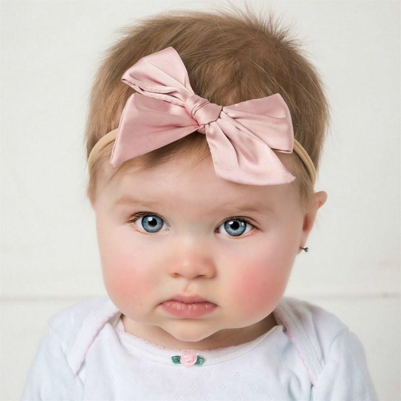 Girls Taffeta Hair Bows Satin Hair Bow Satin Baby Headbands Baby Headbands BTS 4 Taffeta Baby Bows Back to School Hair Bows