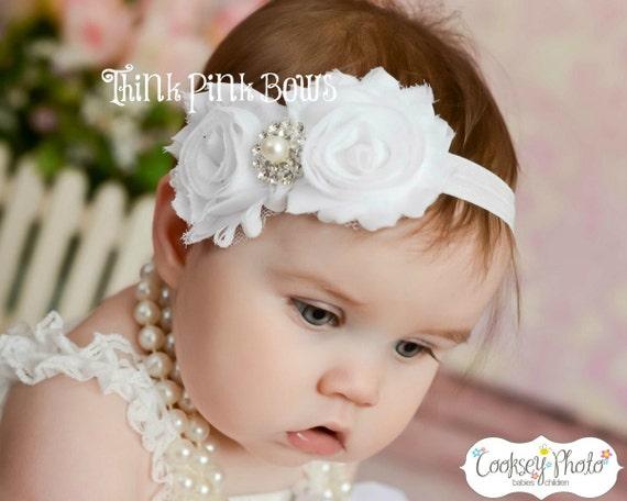 Baby Stirnband Weiße Stirnband Taufe Stirnband Taufe Stirnband Neugeborenestirn Baby Mädchen Stirnband Shabby Chic Stirnband Baby Bögen ③