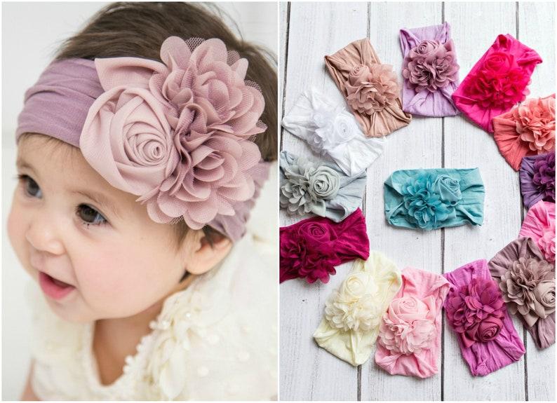 Baby headband Floral nylon headbands baby girl headbands  e9fc60fbf12