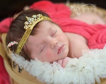 Baby Crown Headband,Tiara Headband, Baby Tiara,Gold tiara headband,Newborn Headband, Christening Headband,Hair bows,  Gold Crown Headband.