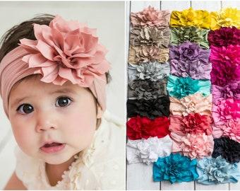 Flower Nylon baby Headband, One size fits all nylon headbands, wide nylon headbands, baby headbands, flower Nylon baby Head wrap, hair bows