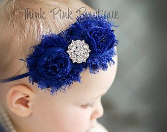 Baby headbands, royal blue headband, Baby Headband, Shabby Chic Headband, Newborn Headband, Infant Headband, Girls Headbands, Baby Bows. #24