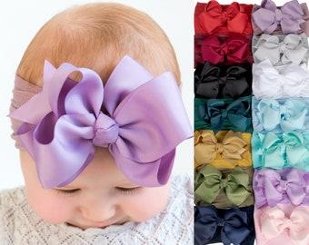 Nylon Baby Headband, Baby headbands, RIBBON BIG BOW Headband, Baby Hair Bows, Nylon Baby Girl Headbands, Newborn Headbands, Baby Hair Bows