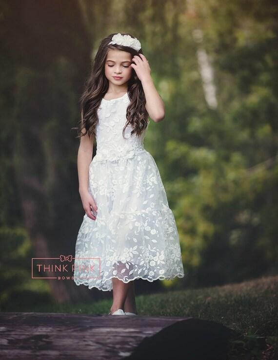Blumenmädchenkleid Spitze Blume Mädchenkleid weiße Blume