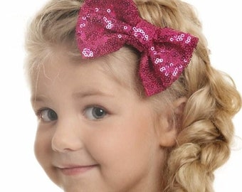 Hot Pink Hair Bow_CHOOSE COLOR_Hair Bows,Baby Hair Clips,Red Hair Bow,Sequined Gold Hair Bow, Girls Hair Bows- Hair Bows, Clippies,hairbows.