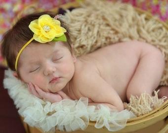 Baby Headbands, Newborn Headband, Yellow Baby Girl Headband, Pink Flower Headband,small baby headband, Baby Headband, Infant headband,