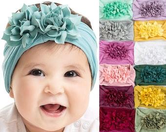 U PICK Nylon Baby Headbands, One Size Fits All Wide Nylon Headbands, DUO FLOWER Baby Girl Headband, Nylon Baby Head Wrap, Baby Hair Bows,