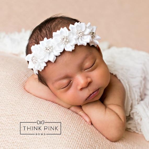 White baby headband Newborn headband Christening Headband  2feea937b2d
