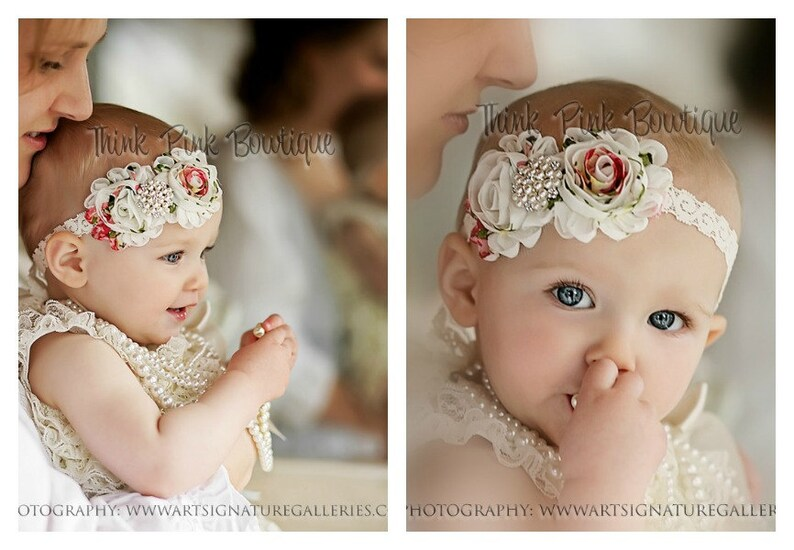 69f305792a4c Ivory petti lace romper and FLORAL headband SET petti