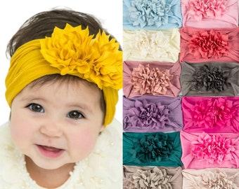 Nylon Baby Headband, DOUBLE FLOWER  headband, baby headbands, Baby Head wrap, baby girl headbands, Baby Hair Bows, Infant toddler Headbands