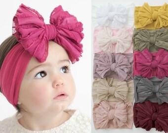 Nylon Baby headbands, Oversized Big Bow Baby Headband, Newborn headbands, nylon headbands, newborn bow headband, baby girl headbands RUFFLED