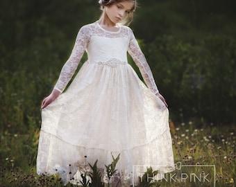 flower girl dress, flower girl lace dresses, country lace dress, ivory lace dress cream, Rustic flower girl, girls lace dress, toddler dress