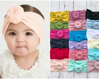 Baby headbands, One size fits all headbands , Round Knot head wrap, Nylon headbands Head Wraps,Turban Bun headband head wrap, Baby Hair Bows