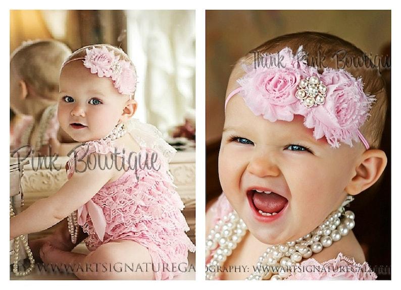 055fc63127b6 SALE Pink petti lace romper and headband SET petti