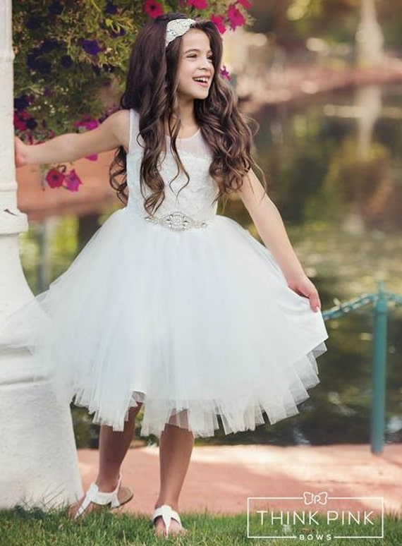 girl dress tutu Communion White Lace fancy girls girl Dress dress Flower dresses tulle flower dress Flower rustic dress baby dress wHqUI