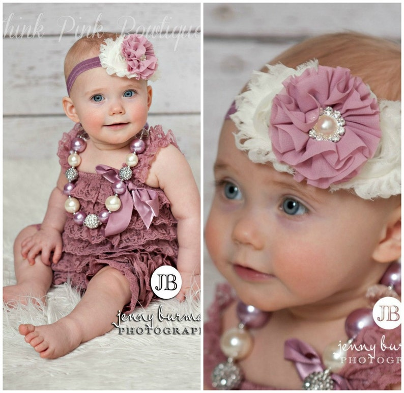 5e217d451 Petti lace romper and headband SET petti romper mauve | Etsy