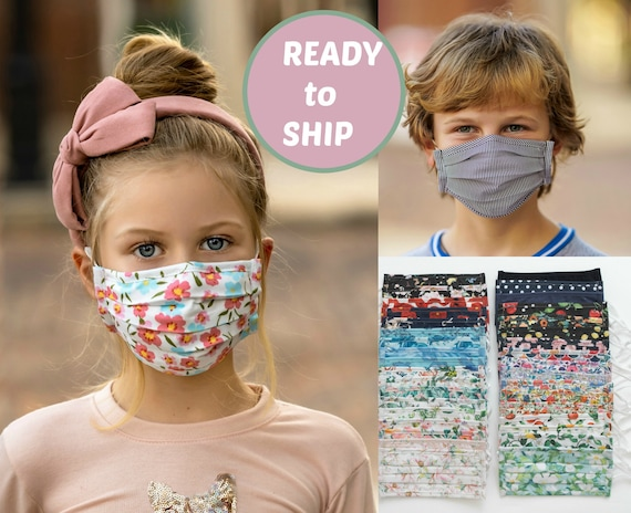 Kids Cotton Face Mask Reusable and Washable, Child Face mask with Filter Pocket and Nose Wire, Cotton Face Cover, Youth Face Mask,