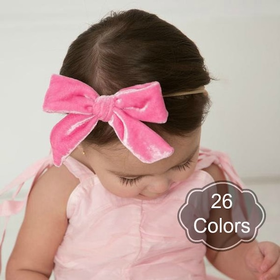 Baby headbands Oversized Velvet Hair Bow velvet baby bows  919ef102f6e