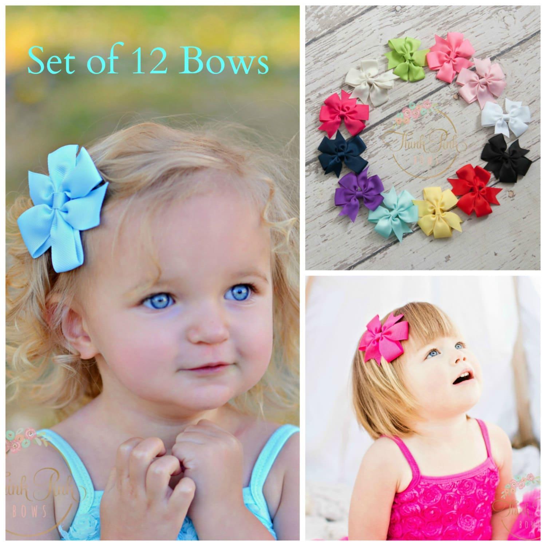 Hair Bows Set Of 12 Hair Bows Hairbows Girls Hair Bows Etsy
