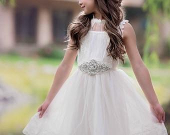 Flower girl dress, flower girl dresses,  ivory lace girl dress, ivory baby dress,country rustic flower girl dress tulle,Christening dress,