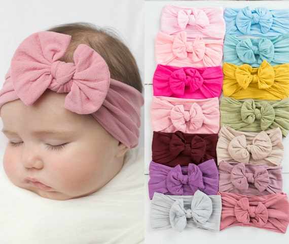 Baby Pink Ruffled Bow Headband : All Sizes available from Preemie to Adult :