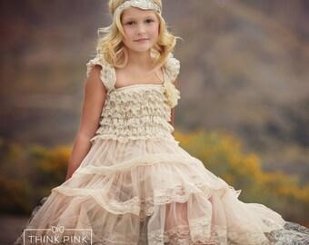 Flower girl dress, flower girl dresses, Lace Ivory flower girl dress, country flower girl dress, baby dresses, rustic flower girl dress,
