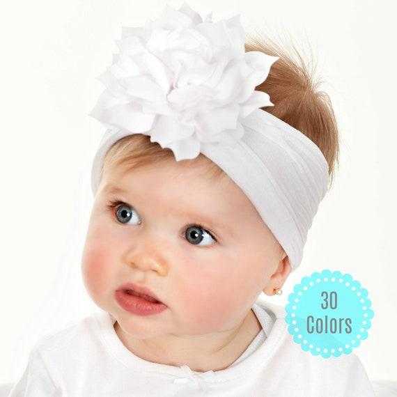 Nylon Headband for infants baby nylon headband Nylon Headband in White add your own bow