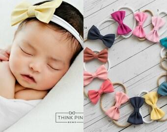 Nylon baby headbands, nylon headbands,baby hair bows, mini bow headband, infant headband, newborn headband, baby girl headbands, baby bows.