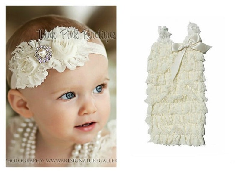 ac9459b12 Ivory petti lace romper and headband SET petti romperbaby | Etsy