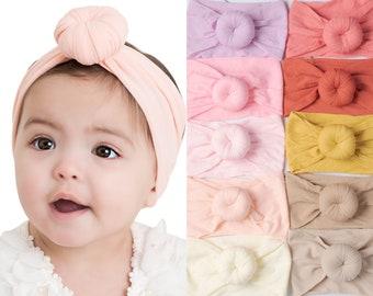 Baby Headbands, Nylon Headwraps, Round Knot head wrap, stretch nylon headbands, Nylon Baby Turban headband, Nylon Head Wraps, shower gift