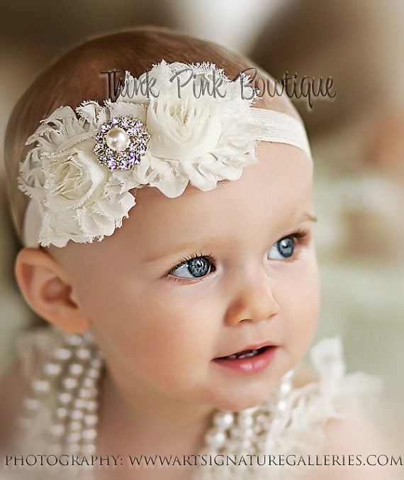 christening headband ivory pageant headband baby white headband Baby girl ivory headband girl ivory headband baptism headband