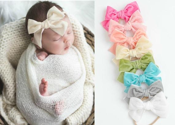 velvet bows for girls velvet turban headband velvet headwraps schoolgirl velvet velvet headband velvet bows for baby Pink velvet bow