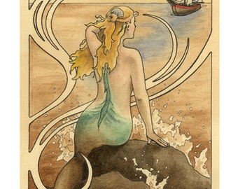 """Mermaid sits on a water sprayed rock in the ocean and watches a ship approach, art nouveau border - Art Reproduction (Print) - """"Mermaid"""""""