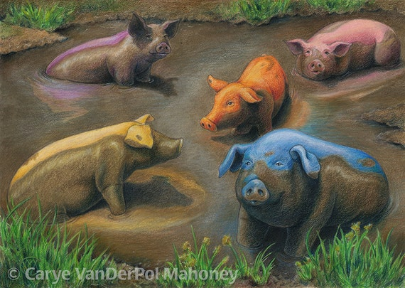 Rainbow of five colourful pigs in chocolate brown mud blue | Etsy
