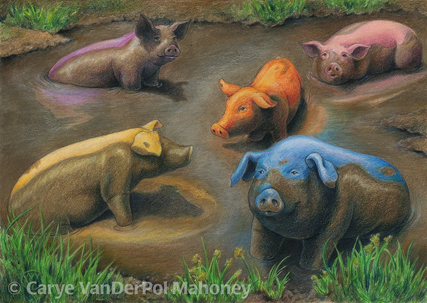 Rainbow of five colourful pigs in chocolate brown mud blue